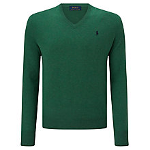 Buy Polo Ralph Lauren Merino Wool V-Neck Sweater, Baron Green Heather Online at johnlewis.com