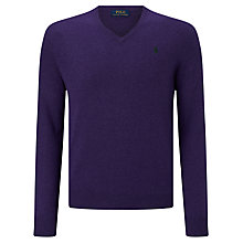 Buy Polo Ralph Lauren V-Neck Jumper, Violet Heather Online at johnlewis.com