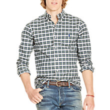 Buy Polo Ralph Lauren Slim Fit Button Down Point Collar Shirt, Green/White Multi Online at johnlewis.com