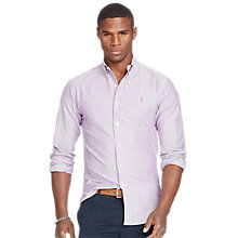 Buy Polo Ralph Lauren Button Down Pin Point Collar Slim Fit Shirt, Purple/White Online at johnlewis.com