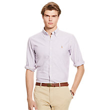 Buy Polo Ralph Lauren Button Down Sports Shirt, Purple/White Online at johnlewis.com