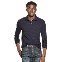 Buy Polo Ralph Lauren Long Sleeve Knit Polo Shirt, Navy/Dark Granite Heather Online at johnlewis.com