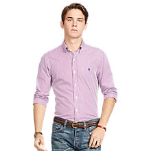Buy Polo Ralph Lauren Slim Fit Button Down Shirt, Red Wine/White Online at johnlewis.com