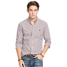 Buy Polo Ralph Lauren Pin Point Collar Shirt, Brown/White Online at johnlewis.com
