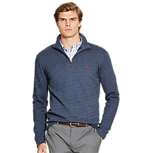 Buy Polo Ralph Lauren Long Sleeve Half-Zip Jersey Top, Navy Texture Online at johnlewis.com