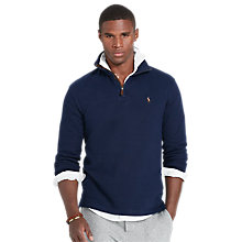 Buy Polo Ralph Lauren Long Sleeve Half Zip Jersey Top, Cruise Navy Online at johnlewis.com