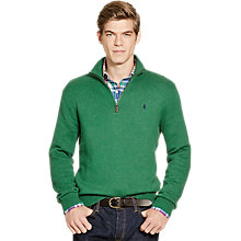 Buy Polo Ralph Lauren Half-Zip Cotton Mock Sweater, Baron Green Heather Online at johnlewis.com