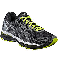 Buy Asics Gel Nimbus 18 Men's Neutral Running Shoes, Black/Silver Online at johnlewis.com