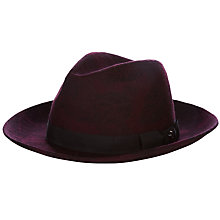 Buy Ted Baker Trigg Leaf Print Fedora Hat, Dark Red Online at johnlewis.com