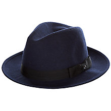 Buy Ted Baker Hattie Contrast Band Fedora Hat, Navy Online at johnlewis.com
