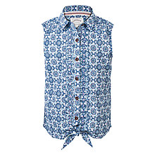 Buy Fat Face Girls' Rebecca Beach Hut Blouse, Light Navy Online at johnlewis.com