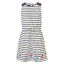 Buy Fat Face Girls' Maisy Stripe Print Jersey Dress, Light Navy Online at johnlewis.com
