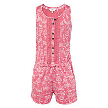 Buy Fat Face Girls' Ocean Print Playsuit, Deep Coral Online at johnlewis.com