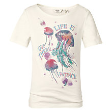 Buy Fat Face Girls' Jellyfish Print T-Shirt, Ecru Online at johnlewis.com