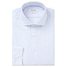 Buy Calvin Klein Fine Stripe Easy Iron Fitted Shirt, White/Ice Blue Online at johnlewis.com