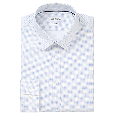 Image of Calvin Klein Micro Dot Fitted Cotton Shirt, Water Mill