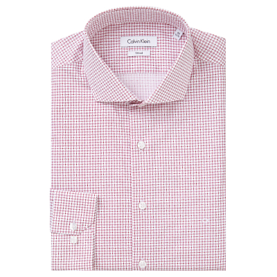 Image of Calvin Klein Geo Square Dot Fitted Cotton Shirt, Dusty Rose