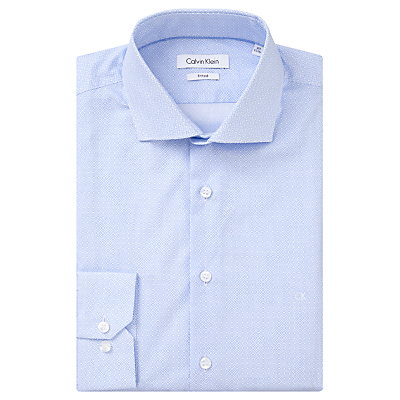 Image of Calvin Klein Micro Starbust Print Fitted Shirt, Light Blue