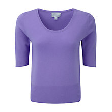 Buy Pure Collection Tabor Crop Cashmere T-Shirt, Deep Lavender Online at johnlewis.com