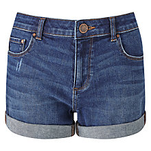 Buy Miss Selfridge Roll Hem Denim Shorts, Mid Wash Denim Online at johnlewis.com