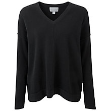Buy Pure Collection Eastbury Relaxed Cashmere V Neck Jumper, Black Online at johnlewis.com