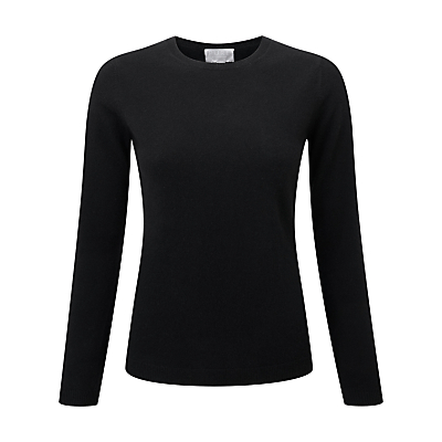 Pure Collection Abbie Round Neck Cashmere Jumper, Black