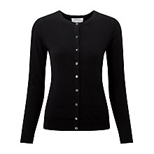 Buy Pure Collection Hadyn Round Neck Cashmere Cardigan, Black Online at johnlewis.com