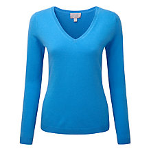 Buy Pure Collection Jaden V Neck Jumper, Greek Blue Online at johnlewis.com