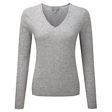 Buy Pure Collection Paisley Cashmere V Neck Jumper, Heather Dove Online at johnlewis.com