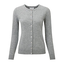 Buy Pure Collection Irene Round Neck Cashmere Cardigan, Classic Grey Online at johnlewis.com