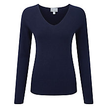 Buy Pure Collection Yasmin Cashmere Fitted V Neck Jumper, Navy Online at johnlewis.com