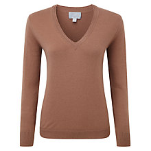 Buy Pure Collection Jadiel Cashmere V Neck Jumper, Muscovado Online at johnlewis.com
