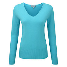 Buy Pure Collection Bailey Cashmere V Neck Jumper, Tropical Blue Online at johnlewis.com