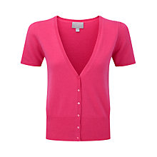 Buy Pure Collection Eardley Cashmere Short Sleeve Cardigan, Sunset Pink Online at johnlewis.com