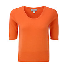 Buy Pure Collection Willow Crop Cashmere T-Shirt, Sunset Orange Online at johnlewis.com