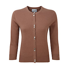 Buy Pure Collection Dahlia Cashmere Round Neck Cardigan, Muscovado Online at johnlewis.com