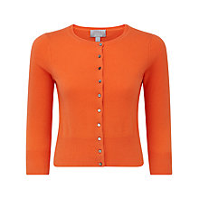 Buy Pure Collection Gabriella Crop Cashmere Cardigan, Sunset Orange Online at johnlewis.com