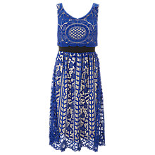 Buy Finery Alderney Craft Lace Hybrid Prom Dress, Blue/White Online at johnlewis.com