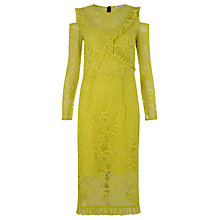 Buy Finery Ampfield Lace Frill Detail Dress, Chartreuse Online at johnlewis.com