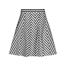 Buy Reiss Contrast Fit and Flare Skirt, Black/White Online at johnlewis.com
