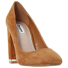 Buy Dune Adriane Block Heeled Court Shoes, Tan Online at johnlewis.com