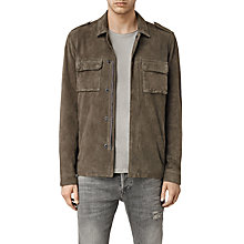 Buy AllSaints Reserve Suede Overshirt, Khaki Green Online at johnlewis.com