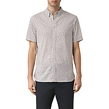Buy AllSaints Kawaba Mini Print Short Sleeve Shirt, Light Grey Online at johnlewis.com