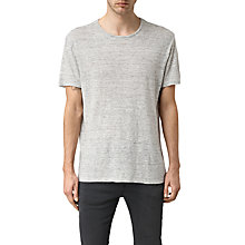 Buy AlllSaints Maxley Crew Linen T-shirt, Grey Online at johnlewis.com
