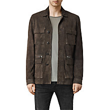 Buy AllSaints Civil Suede Jacket, Khaki Green Online at johnlewis.com