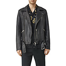 Buy AllSaints Kahawa Leather Biker Jacket, Ink Navy Online at johnlewis.com