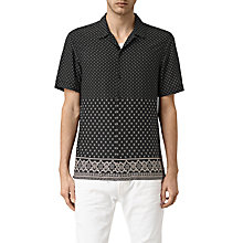 Buy AllSaints Bordure Print Short Sleeve Shirt, Black Online at johnlewis.com