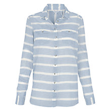 Buy Fat Face Boyfriend Fit Stripe Shirt, Chambray Online at johnlewis.com
