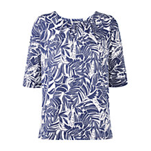 Buy Hobbs Palm Print Top, Blue/White Online at johnlewis.com