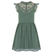Buy Oasis Delicate Lace Yoke Shirt Dress, Khaki Online at johnlewis.com